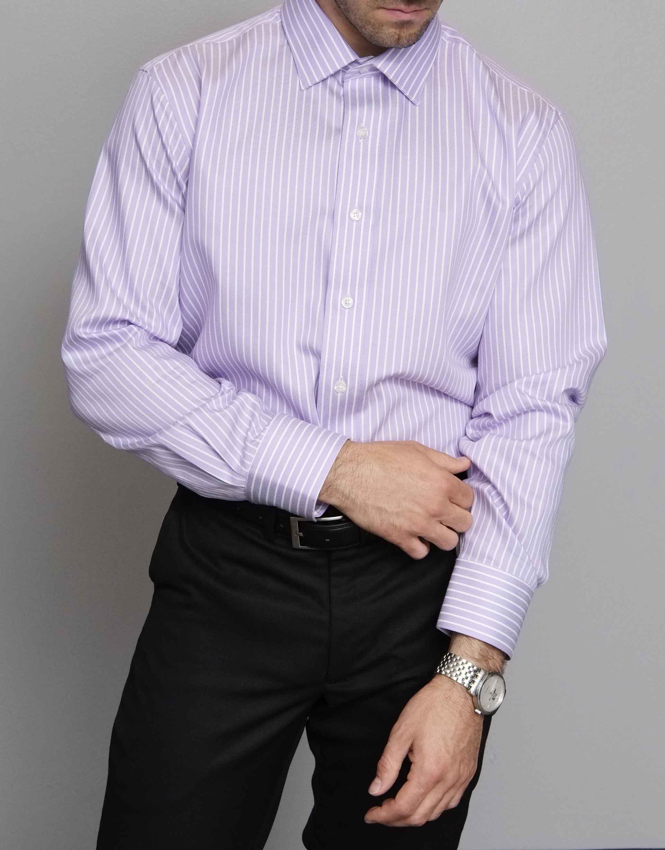 671d2eecd5f2 Lavender Stripe Button Down Shirt - Eric Adler Clothing